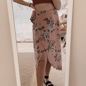 pink xhilaration floral wrap around skirt